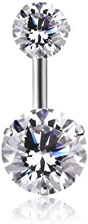TinyStudio Double Gem Stainless Steel 14G Crystal Clear Belly Button Navel Ring Sparkle Prong Gem