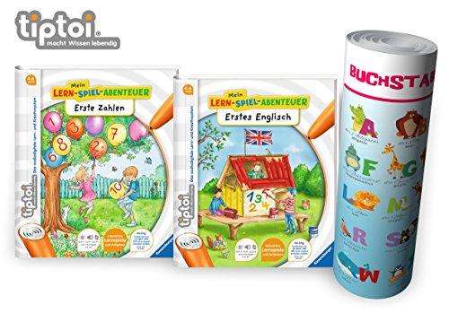 Ravensburger tiptoi ® Bücher | Erste Zahlen + Erstes Englisch Buch + Buchstaben Lern-Poster mit Tiere auf Englisch - Mein Lern-Spiel-Abenteuer