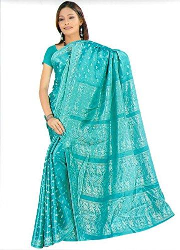 Trendofindia Trendofindia Indischer Bollywood Fashion Sari Stoff Damenkostüm Kleid Türkis CA128