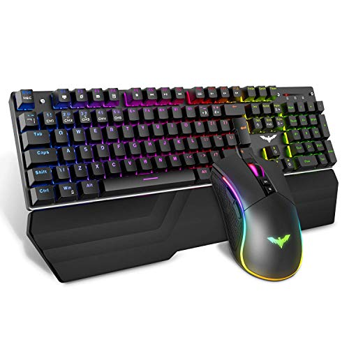Mechanical Gaming toetsenbord en muis Combo, Afneembare ergonomische polssteun + 4800 dpi Programmeerbare Wired Gaming Mouse, Black ZHANGKANG