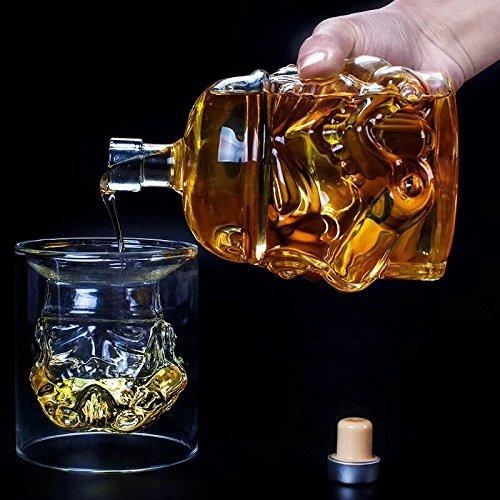 2 stuks Oneindig Grote Home Decor Center Exclusieve op maat gemaakte set van creatieve Whiskey Decanters 650ml hoge borium silicium glazen kan +150ml hoge borium silicium transparante glazen beker