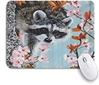 NINEHASA 可愛いマウスパッド かわいい面白いアライグマの花 ノンスリップゴムバッキングコンピューターマウスパッドノートブックマウスマット