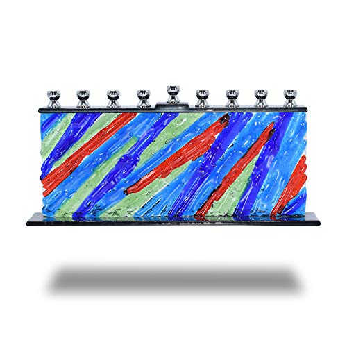 Glass Candle Menorah - Fits All Standard Chanukah Candles - Handcrafted Forever Young Glass Painted Hanukkah Menorah