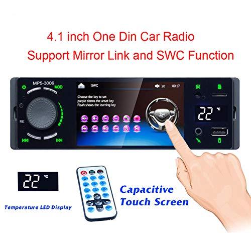 GOFORJUMP 4.0 'Bluetooth Autoradio Touch Screen 1 Din Specchio Link Autoradio MP5 Video Player USB AUX Audio Stereo