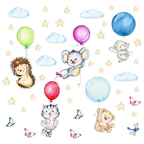 nikima - 123 Wandtattoo niedliche Tiere mit Luftballons Igel Katze Maus Bär Elefant - in 6 Größen - Bezaubernde Kinderzimmer Sticker Aufkleber Wanddeko Wandbild Junge Mädchen Baby - Größe 750 x 420 mm