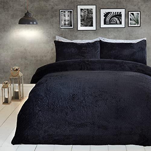 Sleepdown Wafel Fleece Thermal Warm Cosy Super Soft Dekbedovertrek Quilt Beddengoed Set met Kussenslopen – Dubbel (200cm…