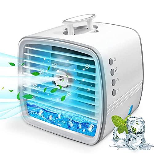 Condizionatore d'Aria Portatile, condizionatore d'Aria Personale, Mini Ventilatore di Raffreddamento evaporativo, Piccolo climatizzatore con Manico Nascosto, Adatto per Camera, Ufficio, casa e Viaggi