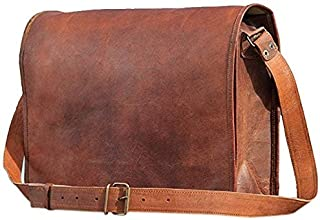 Leder & Leder Leather Full Flap Messenger Handmade Bag Laptop Bag Satchel Bag Padded Messenger Bag School Bag Brown