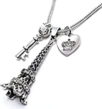 BANCHELLE Heart Key Paris Eiffel Tower Pendant Necklace Long for Women Girl - Silver Tone Jewelry (Silver 01)