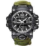 Reloj de supervivencia militar con brújula, silbato y rascador antiincendios, Paracord, cinta adhesiva mágica para senderismo, camping y emergencias