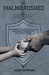 hands sharing bread, gray shield, malnourished book cover