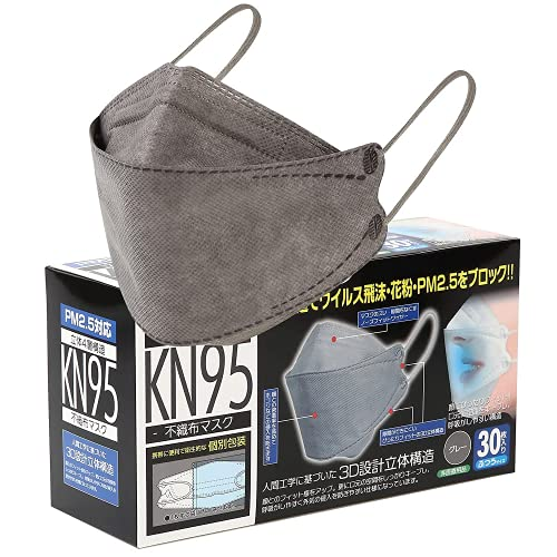 【個包装】KF94型 高機能 4層構造 不織布マスク 3D立体マスク 30枚入 耳が痛くなりにくい 平紐タイプ 不織布 高性能 大人ふつうサイズ 男女兼用 (グレー(GRAY))