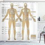 ABAKUHAUS Anatomia Umana Tenda da Doccia, Sistema Scheletro Umano, Tessuto Set di Decorazioni per Il Bagno con Ganci, per la Vasca da Bagno, 175 cm x 200 cm, Bianco Tan