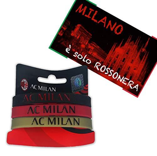 Tex family Juego de 3 pulseras oficiales con el logotipo del A.C. Milan y la tarjeta del Milano è