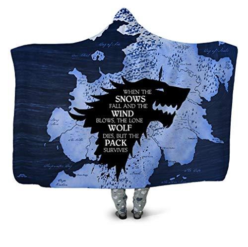 Wearable Game Blanket Kinderen Adult Hooded Deken Met 3D Icefield Wolf Patroon Gedrukt - Double Layer Thicken Sherpa Fleece Cloak TV Deken,Adult