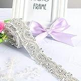 ShinyBeauty, cinta de plata hecha a mano cinturón de novia plata-245 impresionante adorno de diamantes de imitación cristal transparente y faja de diamantes de imitación