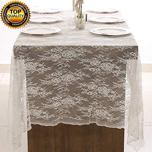 DÉCOCO Weiße Spitze Tischdecke 150 * 300cm in Spitzenauflage Vintage Bestickte Spitzeauflage für Hochzeit Vintage Rezeption Dekor Sommer Outdoor Party Boho Hochzeit Tisch Dekor