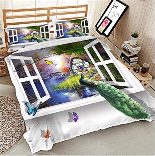 Tanboank Bettbezug 240x220cm mit 2 Kissenbezug 3D Bettwäsche Set Fensterbank Pfau Drucken Mikrofaser Polyester mit Reißverschluss Pflegeleicht Atmungsaktiv Warm Weiche Anti-Fading