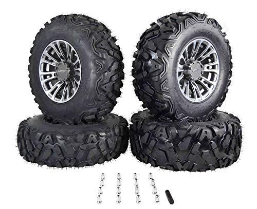 MASSFX SL 25x8-12 25x10-12 ATV Tires with QUAKE Gunmetal 12x7 4/156 Rims UTV Wheel and Tire Kit with Lug Nuts Fits Polaris Only