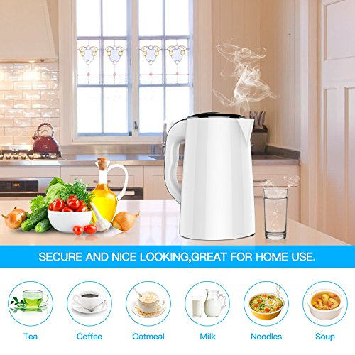 【2018 UPGRADED】 Electric Kettle Double Wall Tea Kettle 1.5 Liter Stainless Steel Electric Water Kettle,1500W BPA-Free with Smart Keep Warm Function,Auto Shut-Off and Boil Dry Protection