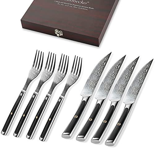 Sunnecko Steakbesteck Set, Damast Besteckset für 4 Personen, Steakmesser mit Wellenschliff aus japanische VG-10 Cored&73-Schichten Damastmesser Gabeln G10 Griff 8-TLG inkl. edle Holzkiste