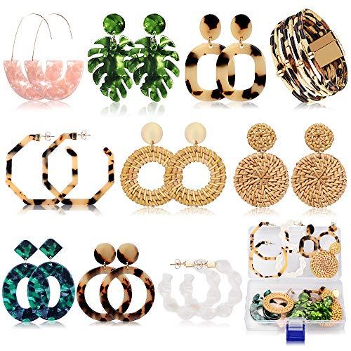 Acrylic Earrings for Women Girls Drop Dangle Leaf Earrings Resin Minimalist Bohemian Statement Jewelry Mottled Hoop Earrings Gifts(9 pair Rattan Acrylic)