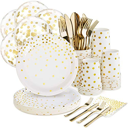 Gold & White Party Supplies Set with Balloons