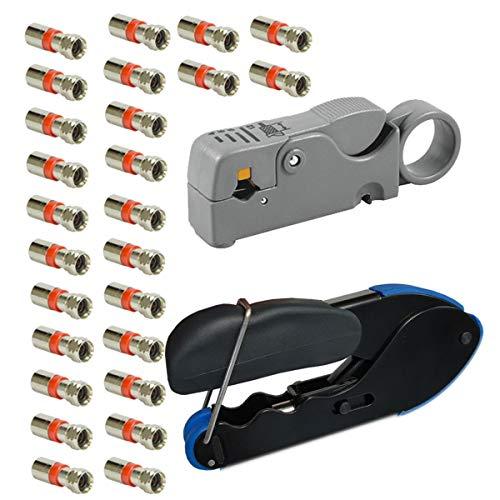 PremiumX SAT Set Kompressionszange RG59 RG6 Abisolierer 25x Kompressionsstecker XCon S7 F- 7 bis 7,5mm für Koaxialkabel