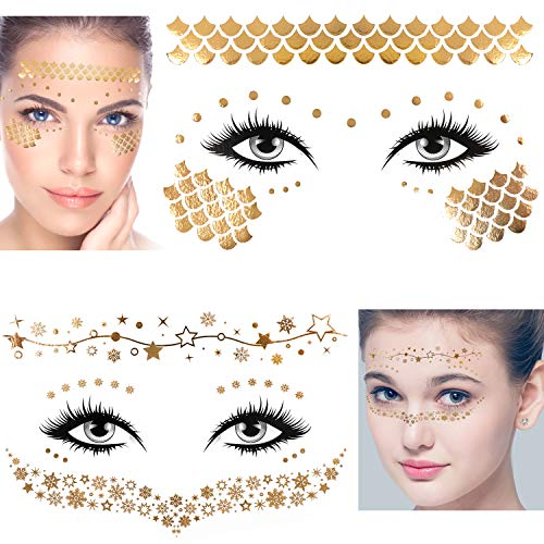 Konsait 8 Sheets Face Tattoo Sticker Metallic Temporary Transfer Tattoo Waterproof Face Jewels for Women Girls Make Up Dancer Costume Parties, Shimmer Glitter Gold Tattoos,Butterfly Star Freckle Scale 4