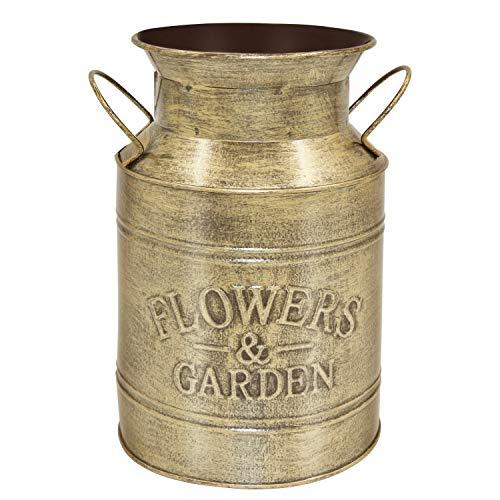 Soyizom Jarrón decorativo de metal dorado | Jarrón de cubo de granja | Jarrón rústico vintage para lata de leche | Jarrón de lata...
