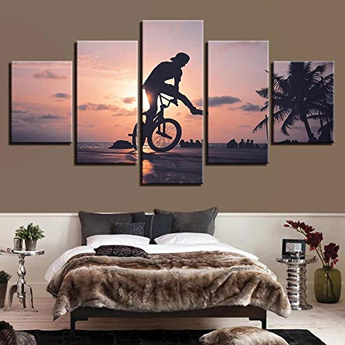 QZWXEC Cuadros Modernos Impresión Sunset Bike Boy Deportes Extremos de Imagen Artística Digitalizada Lienzo Decorativo para Salón o Dormitorio