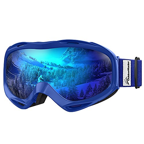 OutdoorMaster OTG Ski Goggles - Over Glasses Ski / Snowboard Goggles for Men, Women & Youth - 100% UV Protection (Blue Frame + VLT 15.2% Grey Lens with Full REVO Blue)