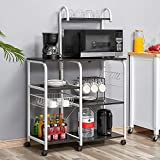 Kealive Kitchen Bakers Rack, Mobile Microwave Cart 35.5' Utility Storage Shelf, 4+3-Tier Shelf for Spice Rack Organizer Workstation with Wire Basket 10 Hooks, Vintage White