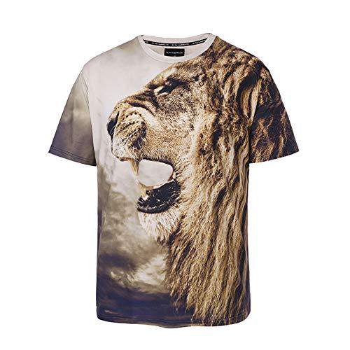 XJWDTX T-Shirt Manches Courtes pour Homme Été 3D Motif Animalier Motif Lion De Grande Taille Tide Brand pour Hommes