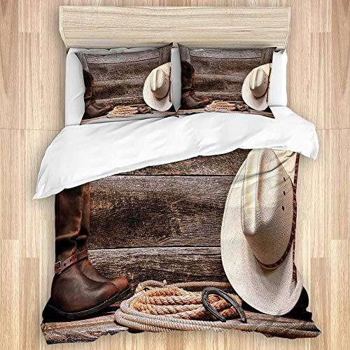 Decoración occidental Sombrero de vaquero de paja blanca de rodeo del oeste americano con botas de cuero Lariat en madera rústica de granero microfibra cepillada 1 funda nórdica 2 fundas de almohada C