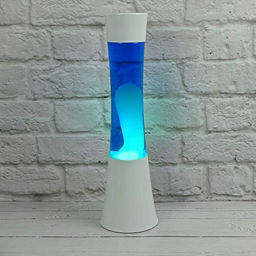 The Glowhouse Große, entspannende Lavalampe, blaues Licht, weißes Flüssigwachs, 38cm