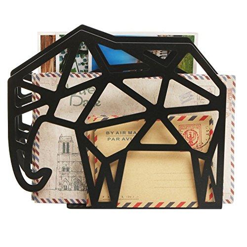MyGift Geometric Elephant Design 2 Slot Mail Letter Sorter Rack, Document File Holder, Black
