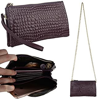 YALUXE Women's Large Capacity Leather Smartphone Clutch Wristlet Wallet with Shoulder Chain Purple