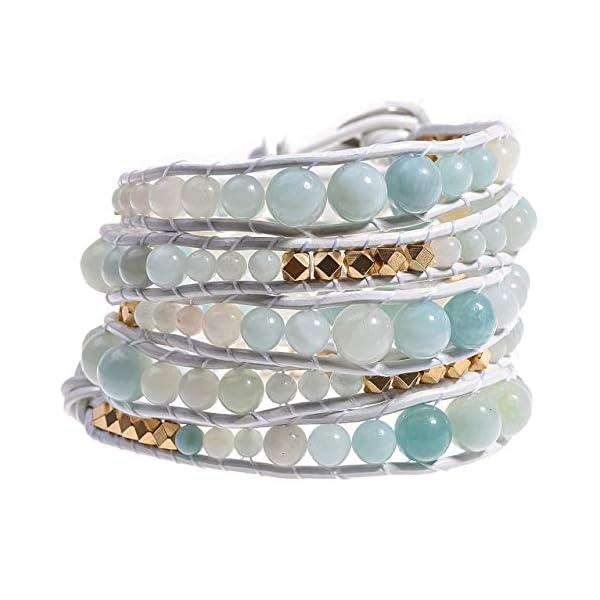 Globi Natural Stone Wrap Bracelet For Women/Men | Adjustable Multilayer Genuine Leather Boho Handmade Beaded Bracelet