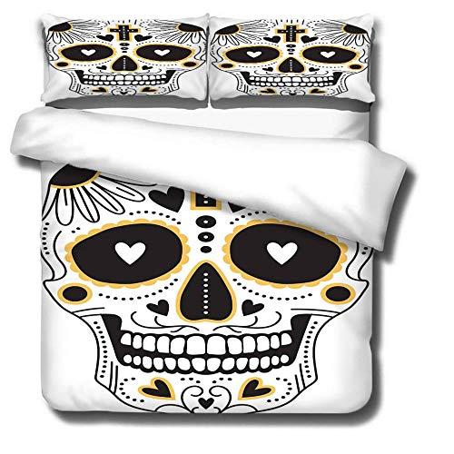 Bbaodan 3D Digital Print Bedding Set Gothic Skull Style Superking Modern Breathable Bedding Set With Hidden Zipper Closure, Hypoallergenic Soft Microfiber / 102 X 86Inch