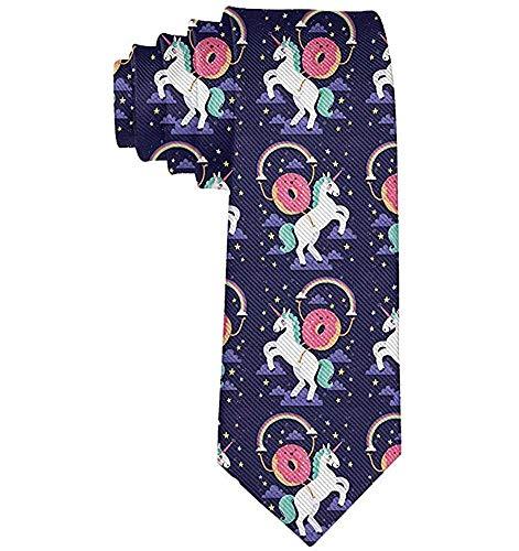 Corbata de moda para hombre Donut Rides on Rainbow Unicron Necktie Talla única Corbata