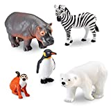 Learning Resources Jumbo Zoo Animals, Monkey, Penguin, Zebra, Polar Bear, and Hippo, 5 Animals, Ages 2+,Multi-color,7-3/4 L x 4 W in