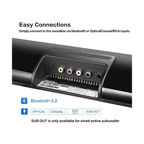 Saiyin Soundbar, Sound Bars for TV with Subwoofer, Ultra Slim 24 Inch Bluetooth, 2.1 Channel TV Speakers Surround Sound…