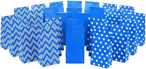 Fun-mall Blue Party Favor and Wrapped Treat Bags, Assorted Designs (30 Ct, 10 Each of Chevron, White Dots, Solid) for Birthdays, Baby Showers, School Lunches, Hanukkah, Care Packages, May Day (Blue)