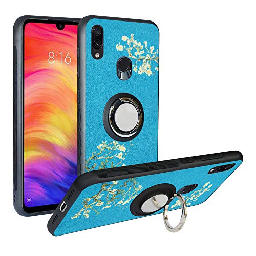 Alapmk Compatible with Xiaomi Redmi Note 7 Case, Pattern Design [with 360 ° Kickstand] Protection Cover Fit with [Magnetic Car Mount] for Xiaomi Redmi Note 7 /Redmi Note 7 Pro/Note 7s,Flower