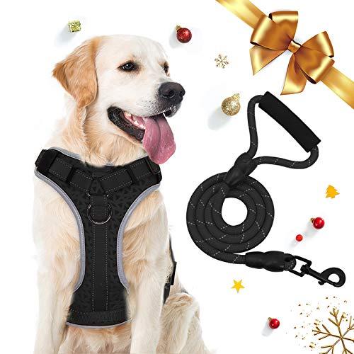 Supet Hundegeschirr Anti Zug Gepolsterte Brustgeschirr mit Reflektorstreifen Weich Einstellbar Geschirr für Hunde Atmungsaktiv Dog Harness für Große Mittlere und Kleine Hunde (XL für Große Hunde