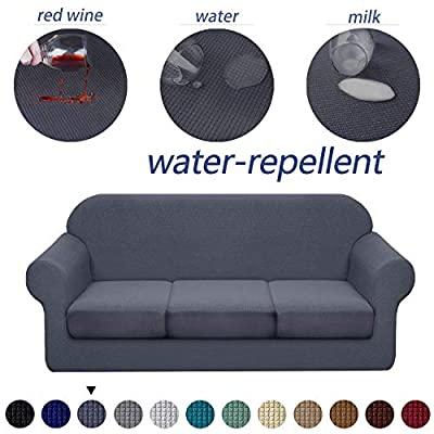 Granbest 4 Piece Premium Water-Repellent Sofa Slipcover for 3 Cushion Couch High Stretch Sofa Cover for 3 seat Sofa Super Soft Fabric Couch Cover for Dogs Pets Furniture Cover (Large, Gray)