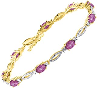 """RYLOS Stunning Tennis Bracelet with Oval Shape Gemstone & Genuine Sparkling Diamonds in 14K Yellow Gold Plated Silver .925-9 Gorgeous 6X4MM Color Stones - Adjustable to Fit 7""""-8"""" Wrist"""