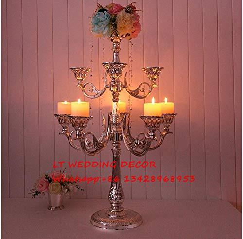 FANTEXI 82 cm de Alto, 9 Brazos, aleación de Zinc, Centro de Plata/candelabros de Boda/Columna de Boda/Pilar de Plata/candelabro Alto