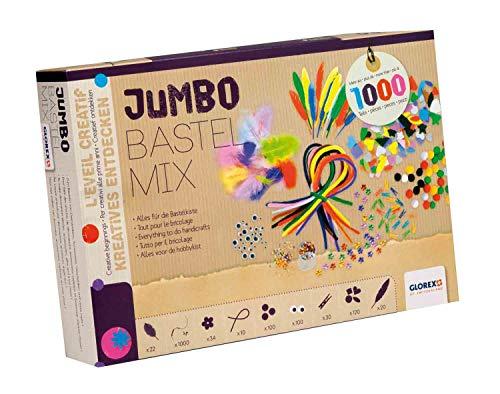 Glorex GmbH 6 1214 072 - Jumbo Bastel-Mix, 1000 Teile,30 x 21 x 6 cm,Mehrfarbig